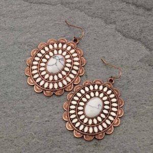 Oval Shape Semi Stone & Epoxy Fish Hook Earrings